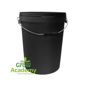 25L ROUND BLACK BUCKET WITH METAL HANDLE & LID