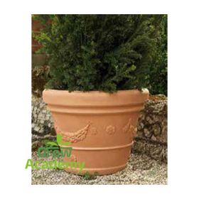 POT WITH FESTOON TERRACOTTA 22LT